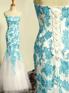 Blue and Blue And White Mermaid Sweetheart Sleeveless Tulle Floor Length Lace Up Appliques 15 Quinceanera Dress