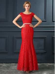 Scoop Floor Length Mermaid Cap Sleeves Red Quinceanera Dresses Lace Up
