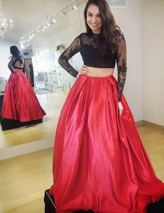 Fashion Red A-line Lace Sweet 16 Dresses Backless Satin Long Sleeves Floor Length