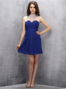 Elegant High-neck Sleeveless Zipper Sweet 16 Quinceanera Dress Navy Blue Chiffon