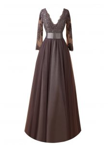 Long Sleeves Organza Floor Length Zipper Party Dress for Girls in Brown with Lace