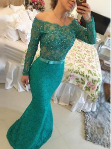Affordable Mermaid Green Backless Bateau Beading 15 Quinceanera Dress Lace Long Sleeves
