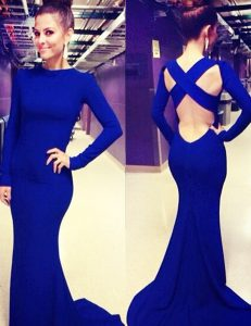 Mermaid Scoop Royal Blue Elastic Woven Satin Criss Cross Vestidos de Quinceanera Long Sleeves Brush Train Ruching