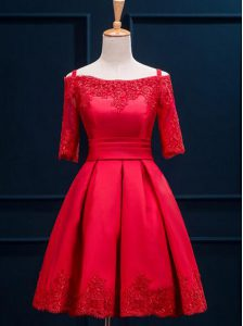 Pleated Off The Shoulder Half Sleeves Lace Up 15th Birthday Dress Red Satin