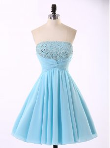 Blue Sleeveless Mini Length Beading and Sequins and Ruching Zipper Quinceanera Gown