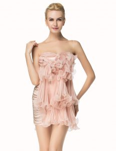 Best Selling Chiffon Scoop Sleeveless Side Zipper Beading and Pleated Quinceanera Dresses in Pink