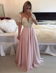 Scoop Pink A-line Beading and Lace 15th Birthday Dress Zipper Chiffon Short Sleeves Floor Length