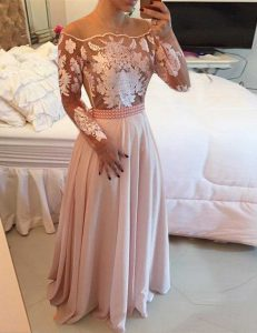 Nice Scoop Long Sleeves Sweet 16 Dresses Floor Length Beading and Appliques and Sashes ribbons Pink Chiffon