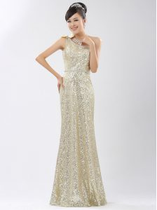 One Shoulder Sequins Champagne Sleeveless Sequined Zipper Quince Ball Gowns for Prom and Party