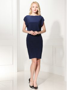 Modest Navy Blue Column/Sheath Bateau Cap Sleeves Silk Like Satin Mini Length Zipper Ruffles Quinceanera Gown
