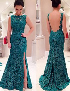 Extravagant Mermaid Scalloped Sleeveless Lace Backless Ball Gown Prom Dress
