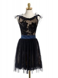 Low Price Scoop Black Sleeveless Mini Length Lace and Belt Backless Vestidos de Quinceanera