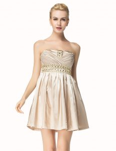 Attractive Champagne A-line Strapless Sleeveless Satin Mini Length Side Zipper Beading and Pleated Sweet 16 Dress