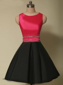 Lovely Red And Black Scoop Neckline Beading Quince Ball Gowns Sleeveless Lace Up