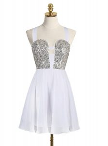 Sequins Mini Length White 15 Quinceanera Dress Straps Sleeveless Criss Cross