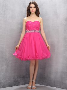 Gorgeous Hot Pink A-line Sweetheart Sleeveless Chiffon Knee Length Zipper Beading Quinceanera Dress