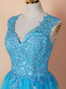 Wonderful Blue A-line V-neck Sleeveless Tulle Knee Length Zipper Beading and Appliques Quinceanera Gowns