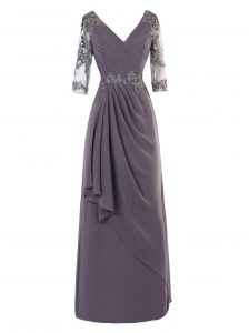 Chiffon V-neck Long Sleeves Zipper Beading and Appliques and Ruching Quince Ball Gowns in Grey