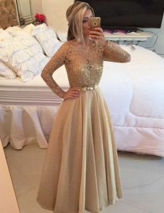 Chiffon Long Sleeves Floor Length Sweet 16 Dresses and Beading and Lace