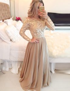 Luxurious Scoop Long Sleeves Chiffon 15 Quinceanera Dress Beading and Lace Zipper