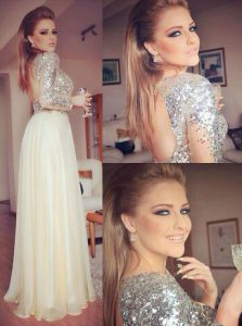 Fine Champagne Backless Quinceanera Dresses Sequins Long Sleeves Floor Length