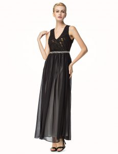 Black V-neck Neckline Beading and Pleated Quinceanera Dresses Sleeveless Backless