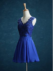 Decent Royal Blue V-neck Neckline Appliques Quinceanera Gown Sleeveless Zipper