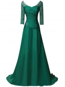 On Sale V-neck Long Sleeves Sweep Train Zipper Sweet 16 Quinceanera Dress Green Chiffon