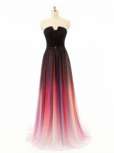 Multi-color Sleeveless Chiffon and Fading Color Sweep Train Zipper Quinceanera Dress for Prom and Party