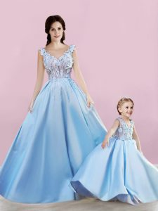On Sale Floor Length Lace Up Quince Ball Gowns Baby Blue for Prom and Party with Appliques