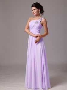 Lavender Beaded One Shoulder Graduation Dresses for College in Lochearnhead