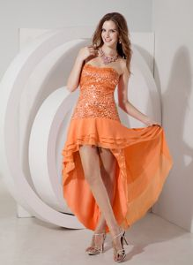 Strapless Chiffon and Sequins Orange Red Junior Graduation Dresses in Falkirk
