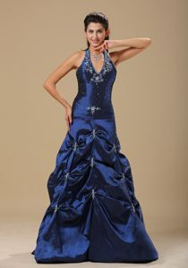 Navy Blue and Appliques Decorated Halter Senior Graduation Dress in Dunblane
