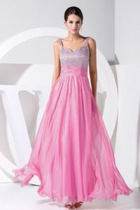 Straps Beading Decorate Rose Pink Prom Dress for Graduation in Beeswing