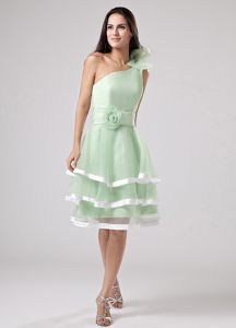 Apple Green One Shoulder Ruffled Flowers Senior Graduation Dress in Newport-on-Tay