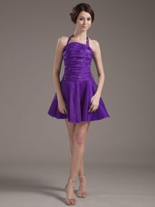 Halter for Purple Beading and Ruching College Graduation Dresses in St. Andrews