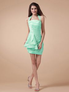 Apple Green Halter and Ruched Bodice Graduation Ceremony Dresses in Strathmiglo