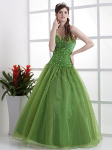 Olive Green Beaded Decorated Sweetheart University Graduation Dress in Thornton