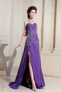 Purple Beads and High Slit Brush Train Graduation Dresses for College in Banchory