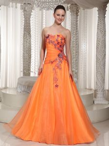 Orange Ruched and Appliques Graduation Dresses for High School in Bucksburn