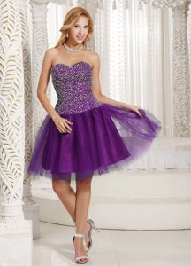 Purple Beaded Decorate Sweetheart Tulle College Graduation Dress in Cairnbulg