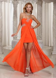 Sexy Strapless Beaded Ruched High-low Orange Graduation Dresses in Port Adelaide