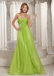 Spring Green Sweetheart Beaded Ruched Fashionable Evening Dresses for Graduation