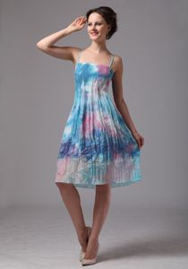 Pretty Straps Printed Pleated Knee-length Pageant Graduation Dresses in Port Augusta