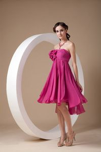 Exclusive Hot Pink Strapless Ruched Short Hand Flowery Evening Dress for Graduation