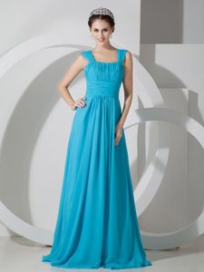 Elegant Sky Blue Square Ruched formal Graduation Dress with Brush Train in Benalla