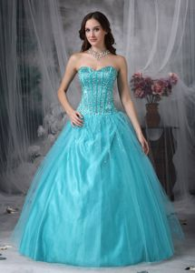 Pretty Sweetheart Aqua Blue Beaded Tulle Prom Dresses for Graduation in Port Lincoln