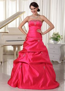 Qualified Coral Red Strapless Appliqued Beaded Pageant Graduation Dress with Pick Ups