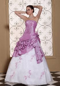 Strapless Beaded Embroidery Lavender Prom Dresses for Graduation with Hand Flowers