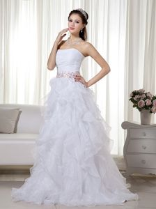 Romantic White Strapless Ruched Beaded Ruffled Brush Train Pageant Graduation Dresses